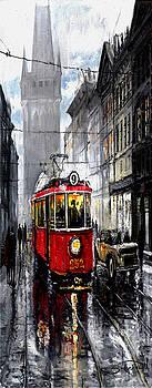 Red Tram by Yuriy  Shevchuk