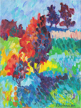 Red Trees Bold and Bright by Peggy Johnson