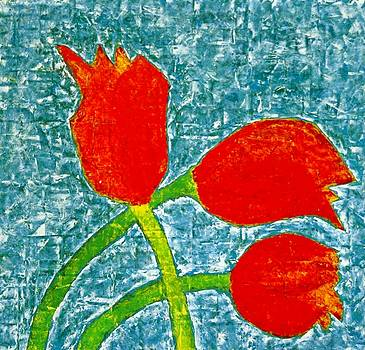 Red Tulips Collage 4 1978 by Jerry Hanks