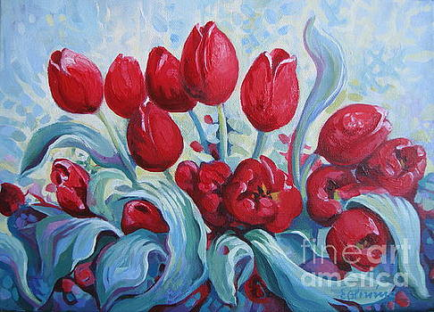 Red tulips by Elena Oleniuc
