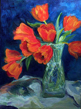 Red Tulips in a Glass Vase by Nanci Cook