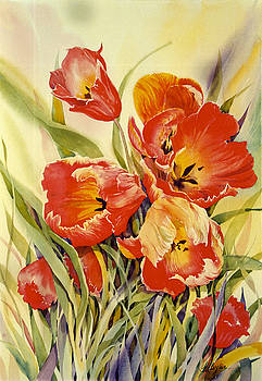 Red Tulips in my Garden by Maryann Boysen
