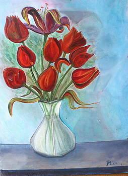 Red Tulips by Pilar  Martinez-Byrne