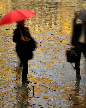 Red Umbrella In the Piazza in Florence by Greg Matchick