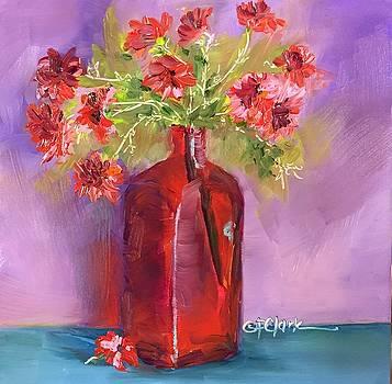 Red Vase-Pink Flowers by Donna Pierce-Clark
