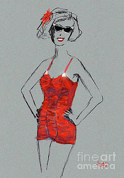 Ginette Callaway - Red Vintage Bathing Suit