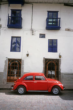 Red VW Beetle in Cusco Peru by Alex Hinds