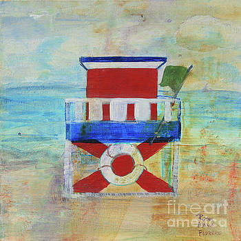 Red White and Blue Life Guard Station by Robin Maria Pedrero