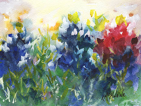 Red White and Bluebonnets watercolor painting by KMcElwaine by Kathleen McElwaine