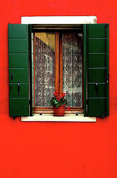 Red Window Burano Italy by Xavier Cardell