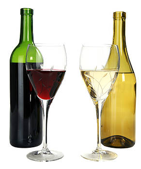 Michael Ledray - Red wine and white wine in cut crystal wine glasses
