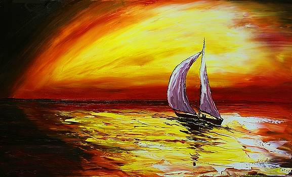 Red Yellow Sunset Sails #2 by Portland Art Creations