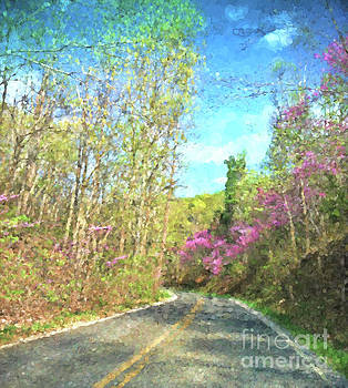 Redbud Along The Way - Abstract Art by Kerri Farley