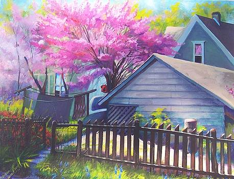 Redbud Tree in Oldtown Springtime by Bobbi Baltzer-Jacobo