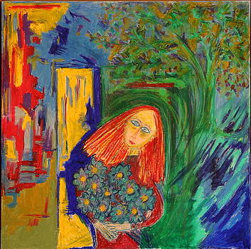 Redhead with Flowers by Maggis Art