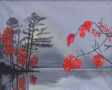 Reds at the lake by Stormy Miller