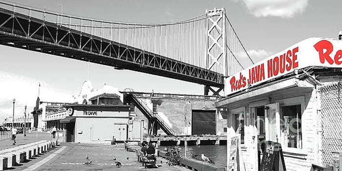 Wingsdomain Art and Photography - Reds Java House and The Bay Bridge in San Francisco Embarcadero Black and White and Red Panoramic
