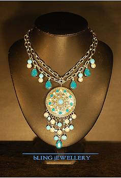 REDUCED Caribbean Blue Opal and Pearl Chain Necklace by Janine Antulov