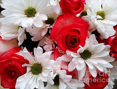 Red,White, Roses and Daisies Bouquet by Margaret Newcomb