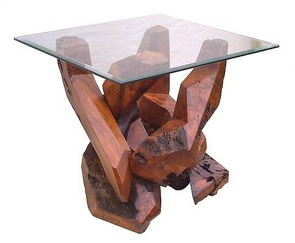 Redwood Glass Top Accent Table 17810 by Daryl Stokes