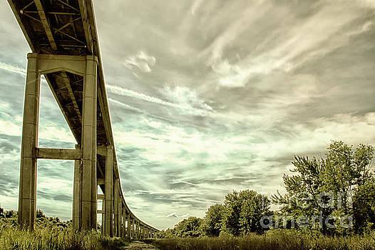 Reedy Point Bridge Against Sky by Melissa Fague