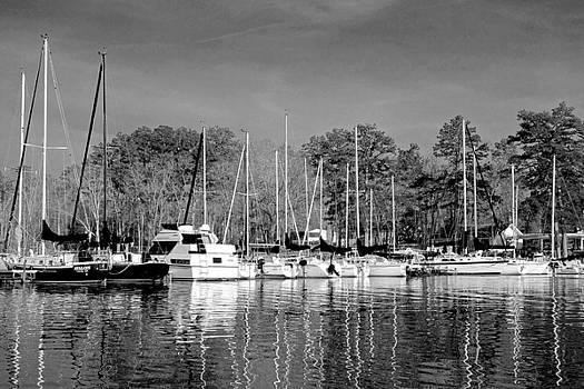 Reflecting the Masts in Black and White by Charlie and Norma Brock