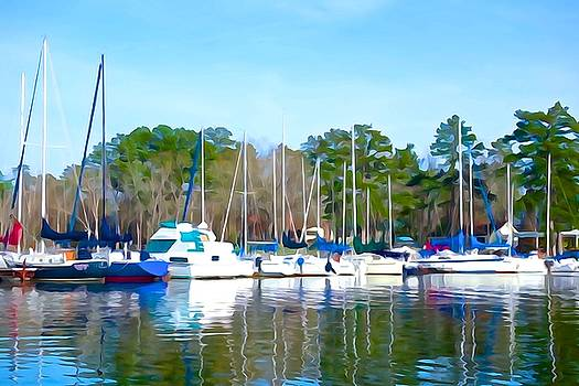 Reflecting the masts - watercolor style by Charlie and Norma Brock