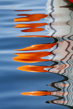Water Reflection of Orange Blobs and Black Zig Zagging Lines by Sharon Foelz