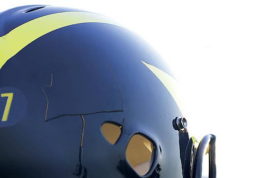Reflection of Goal Post in Wolverine helmet by Michigan Helmet