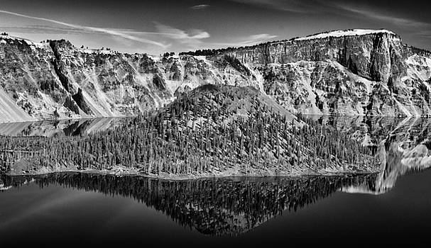 Reflection Of Wizard Island Crater lake B W by Frank Wilson