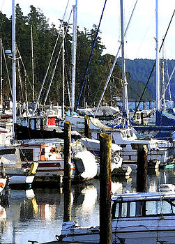 Reflections at Dock by Mary Gaines