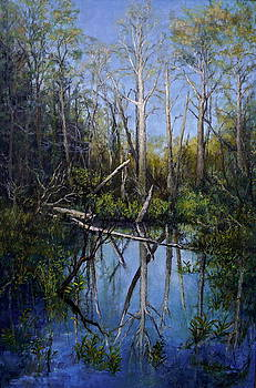 Reflections at Low water Bridge by Jackie Langford