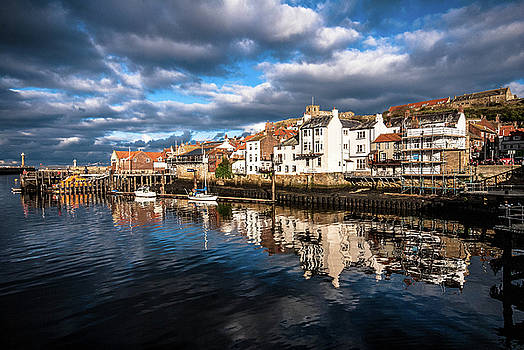 Reflections in the harbour at Whitby by Peter Jenkins