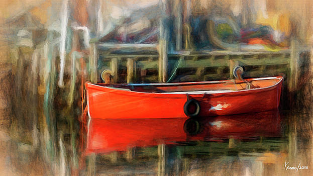 Reflections of a Red Boat by Ken Morris
