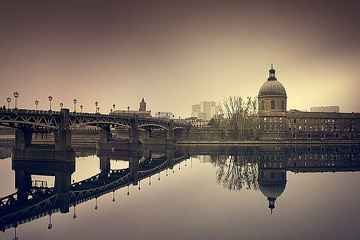 Reflections on the Garonne in Toulouse by Mickael PLICHARD