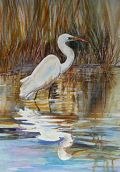 Reflelcted Egret by Shirley Roma Charlton