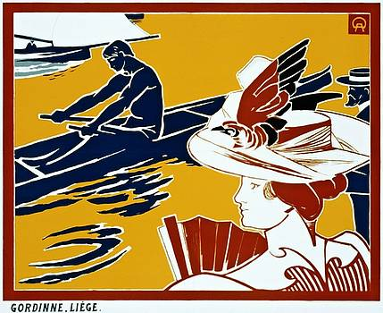 Regate et chapeau a plumes, advertising poster, ca. 1895 by Vintage Printery
