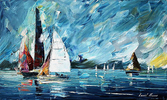 Regatta - PALETTE KNIFE Oil Painting On Canvas By Leonid Afremov by Leonid Afremov