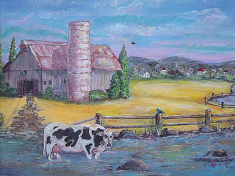 Relaxing Cow by Antoinette Mcfadden