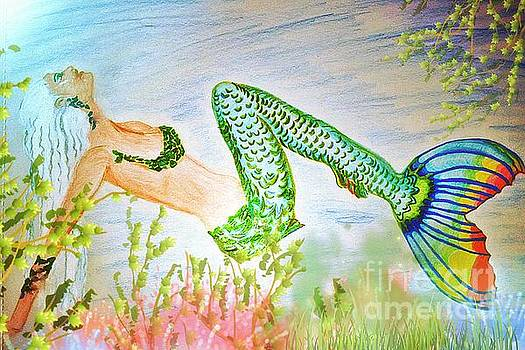 Pamela Smale Williams - MERMAID RELAXING IN THE SHALLOWS