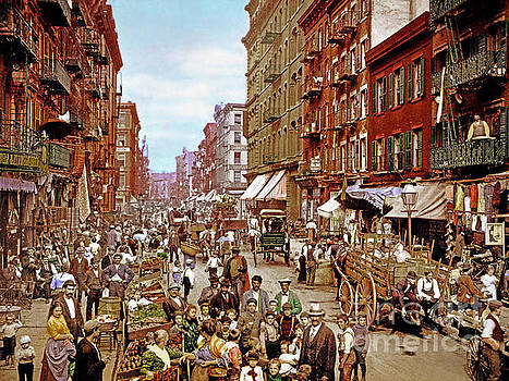 Wingsdomain Art and Photography - Remastered Photograph Mulberry Street Manhatten New York City 1900 20170716