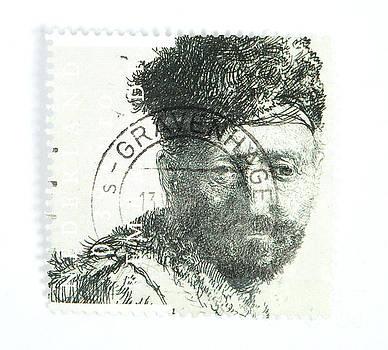 Patricia Hofmeester - Rembrandt etch on postage stamp