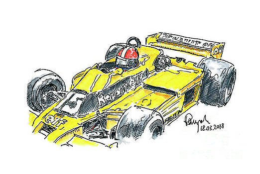 Frank Ramspott - Renault RS 01/2 Turbo F1 Racecar Front Ink Drawing and Watercolo