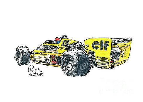 Frank Ramspott - Renault RS 01/2 Turbo F1 Racecar Rear Ink Drawing and Watercolor