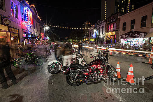 Herronstock Prints - Republic of Texas Biker Rally on 6th Street with thousands of sp