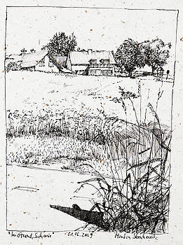 Martin Stankewitz - residential area with trees ink drawing