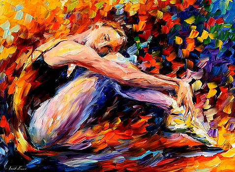 Resting Ballerina - PALETTE KNIFE Oil Painting On Canvas By Leonid Afremov by Leonid Afremov