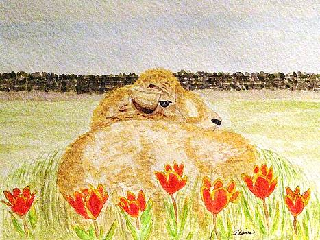 Resting In The Tulips by Angela Davies