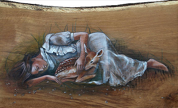 Resting Maiden with Fawn by Jacque Hudson