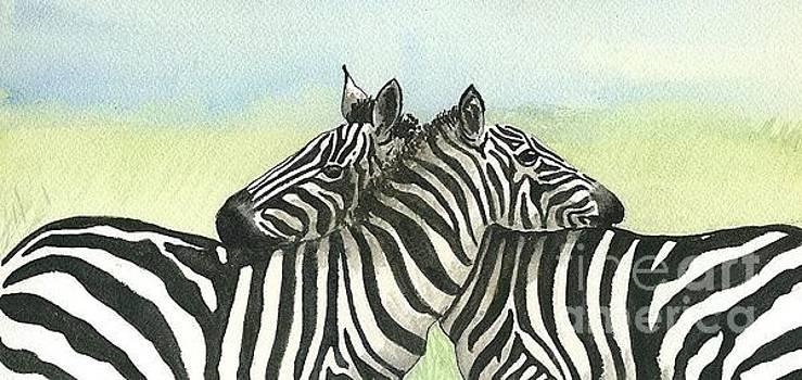 Resting zebras by Christine Winship